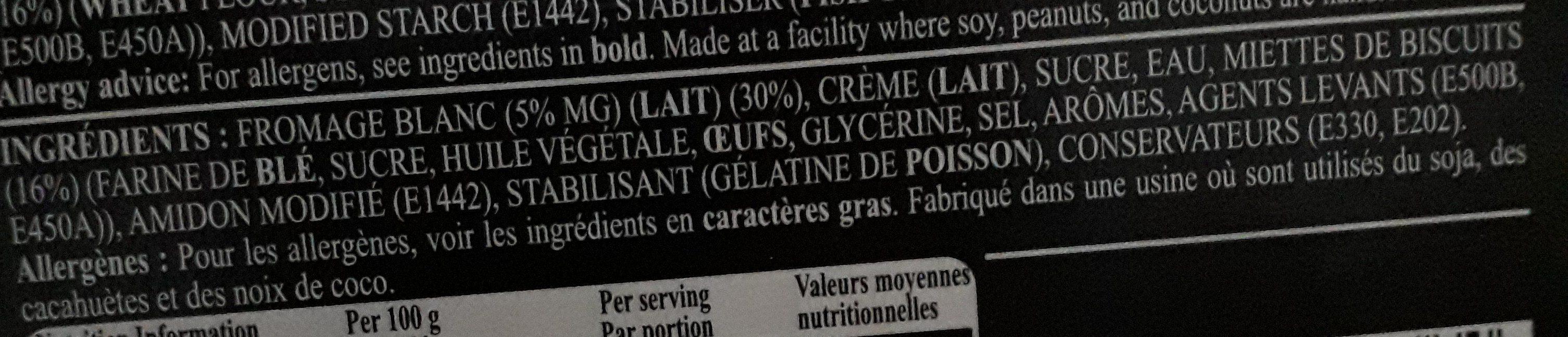 Cheesecake - Ingrédients - fr
