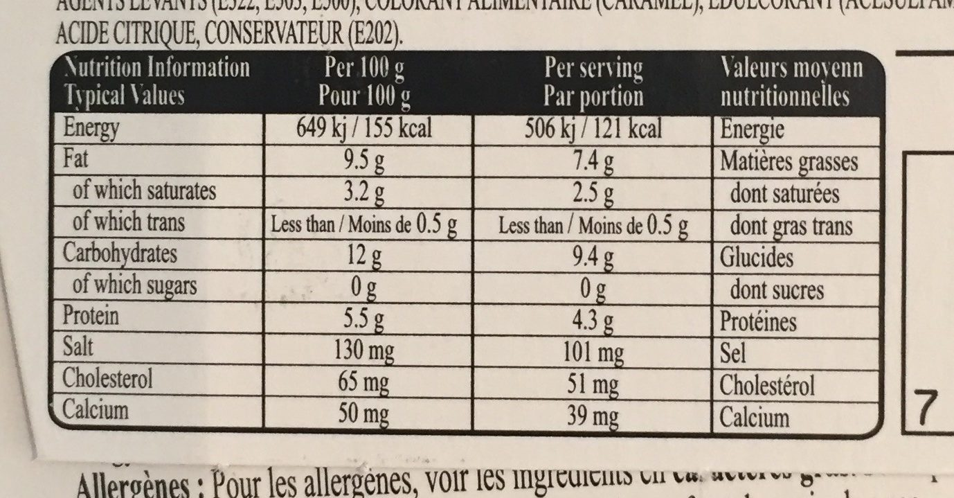 Cheesecake - Nutrition facts