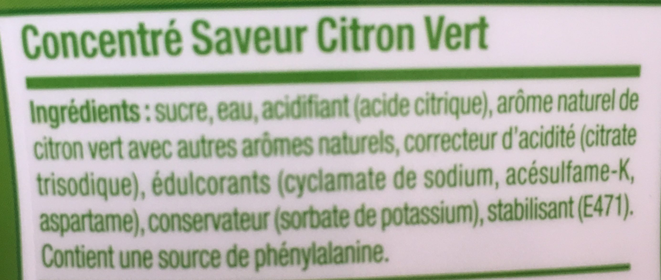 Sirop Concentré - 500 ML - Citron Vert - Ingredients
