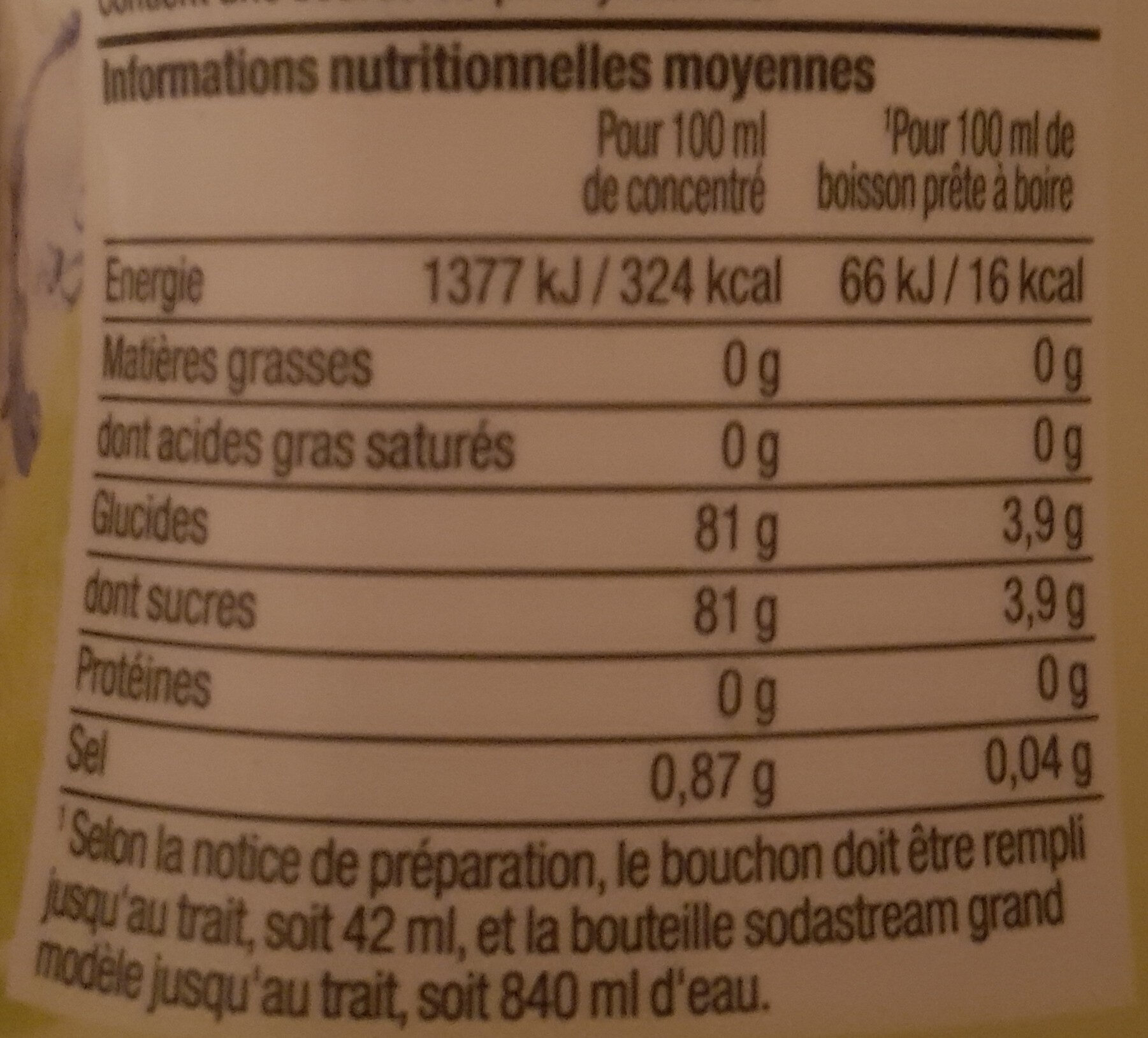 Sirop Concentré - 500 ML - Citron Vert - Nutrition facts