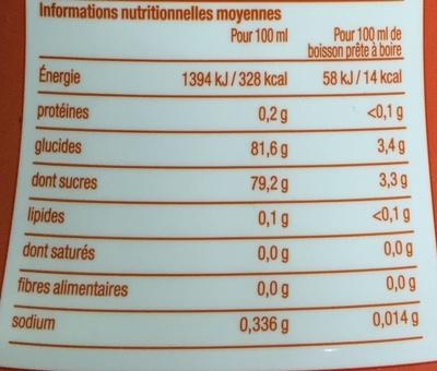 Concentré saveur Orange Sanguine - Voedingswaarden - fr