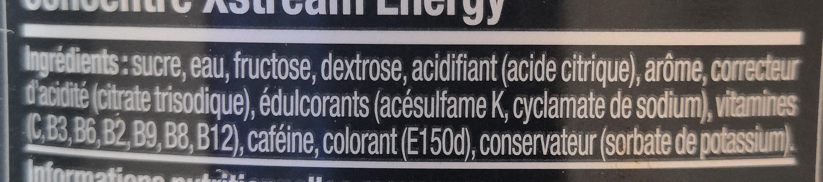 Concentré Xstream Energy - Ingrédients - fr