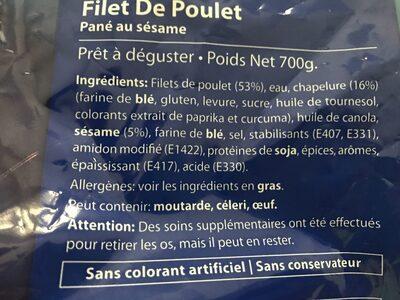 Filet De Poulet Sésame - Ingrediënten - fr