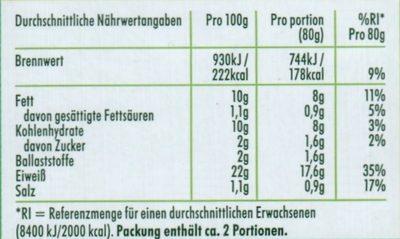 Vegetarische Filet-Streifen - Nährwertangaben