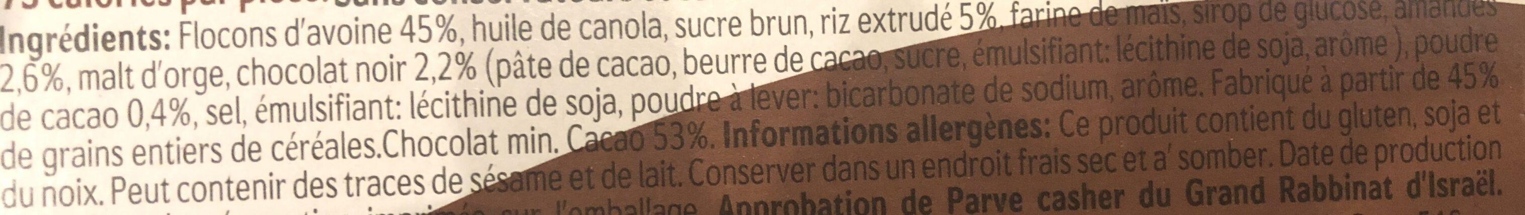 Barre De Céréales Chocolat Et Amandes - Ingrédients