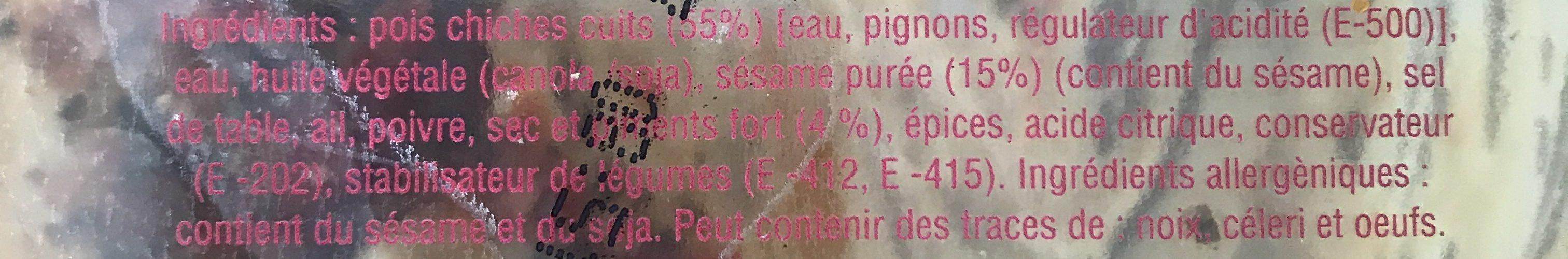 Houmous Abu-Gosh Sauce Piquante - Ingrédients - fr