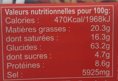 Beef flavor instant noodles - Informations nutritionnelles