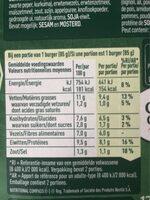 Burger aux légumes - Informations nutritionnelles - fr