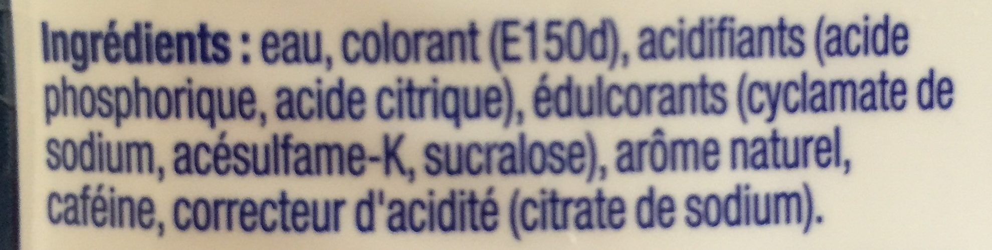 Concentré Cola Sans Sucre + 50% Gratuit - Ingrédients - fr