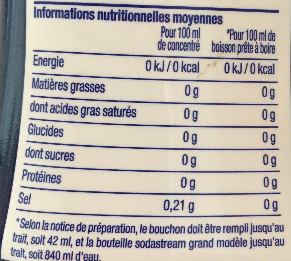 Concentré Cola Sans Sucre + 50% Gratuit - Informations nutritionnelles - fr