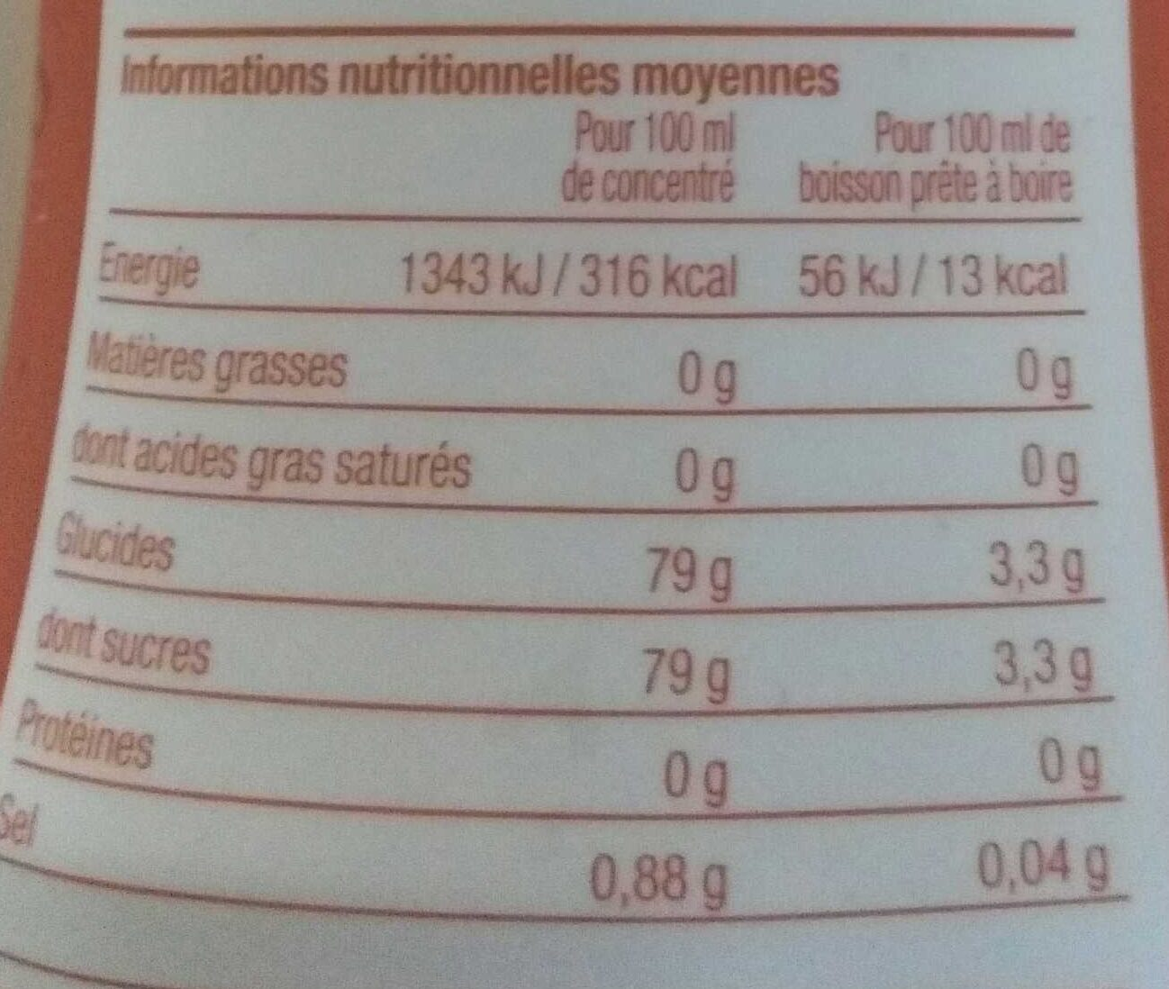 Concentré saveur orange, pêche, passion - Informations nutritionnelles - fr