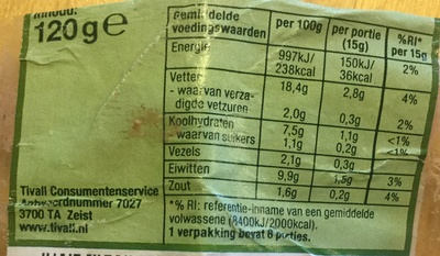 Vegetarische smeerworst tuinkruiden - Nutrition facts