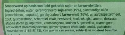 Vegetarische smeerworst - Ingrediënten - nl