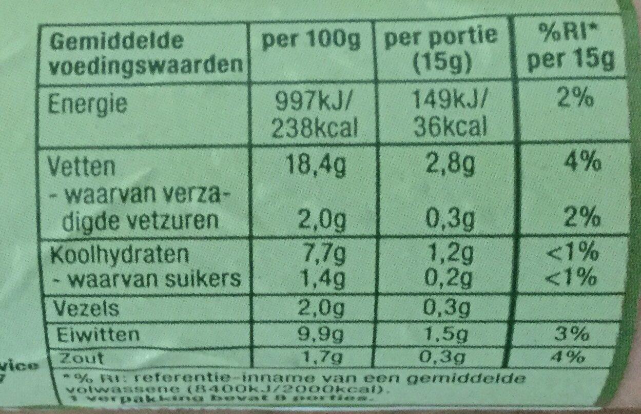Vegetarische smeerworst - Voedingswaarden - nl