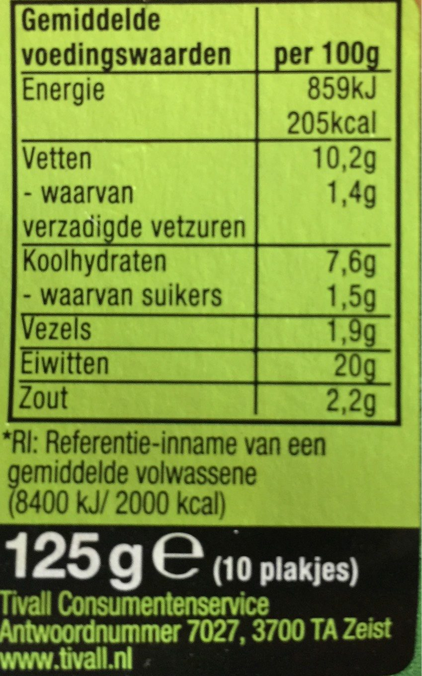 Tivall vegetarisches Filet - Informations nutritionnelles