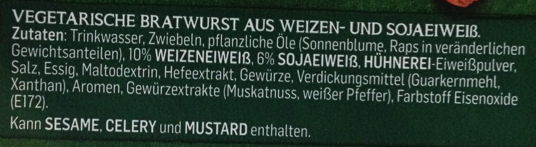 Garden Gourmet Vegetarische Bratwurst - Ingrédients - de