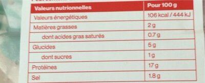 Chiffonade de poitrine de poulet fumée - Informations nutritionnelles - fr