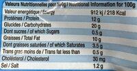 Frites de poulet - Informations nutritionnelles - fr