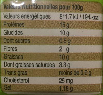 Escalopes entiere de poulet panees et precuites - Nutrition facts