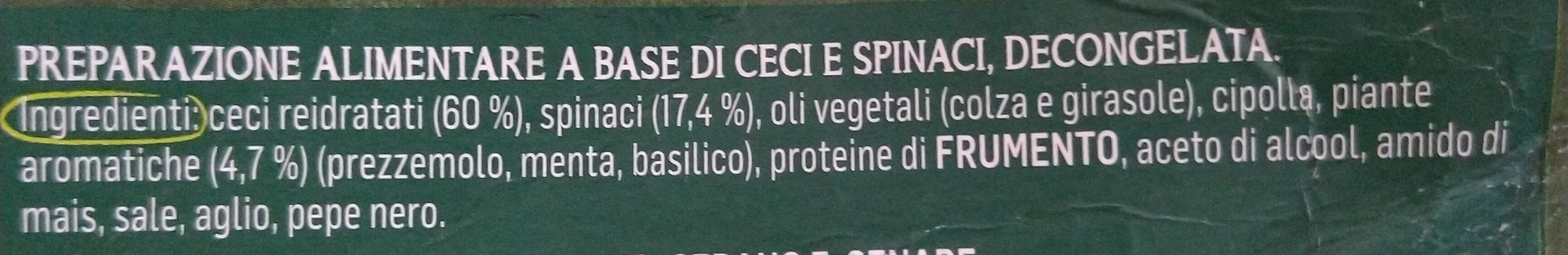 Falafel épinard - Ingrédients - it