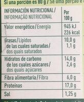 Nuggets vegetarianos - Información nutricional