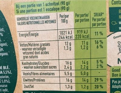 Escalope - Nutrition facts - nl