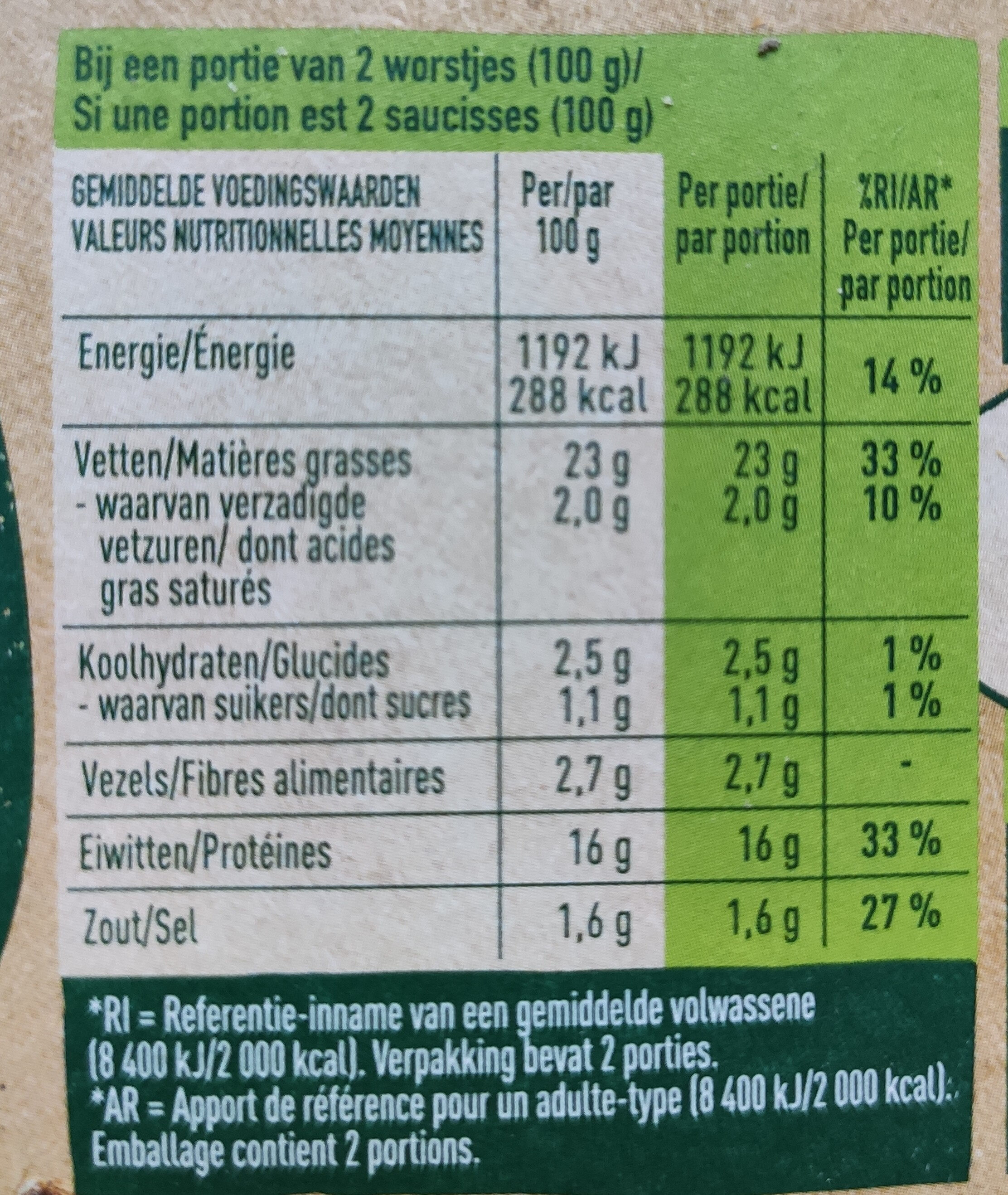Rookworst - Nutrition facts - nl