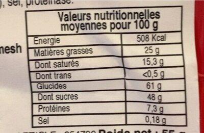 Kif kef bites - Voedingswaarden - fr