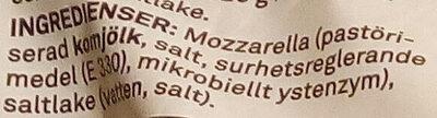 Coop Mozzarella - Ingrédients - sv