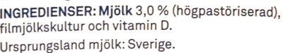 Filmjölk - Ingredients - sv