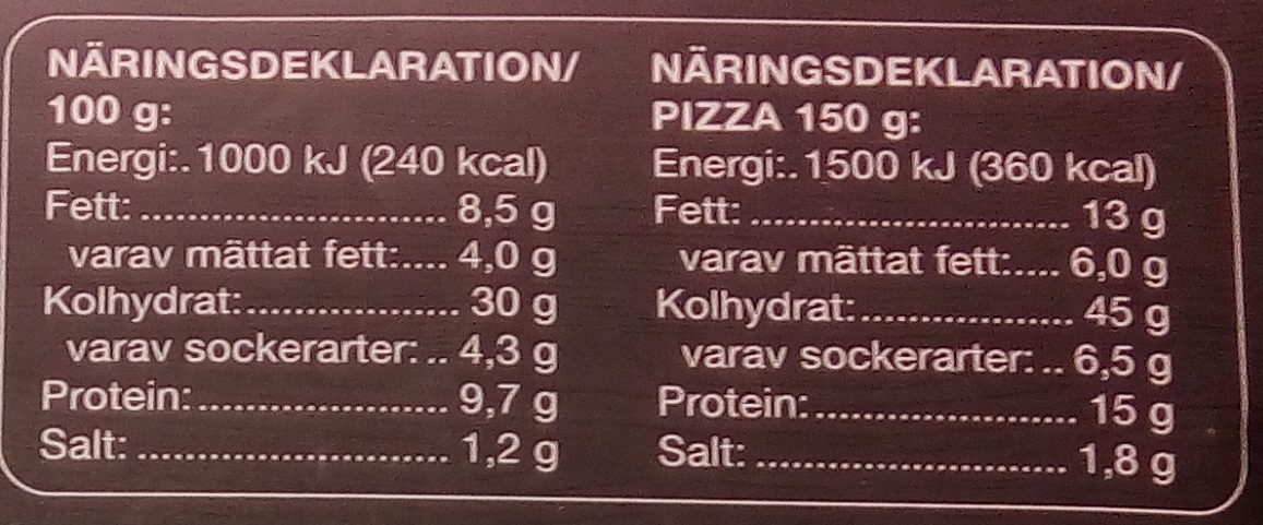 Coop Pan Pizza Pepperoni - Nutrition facts