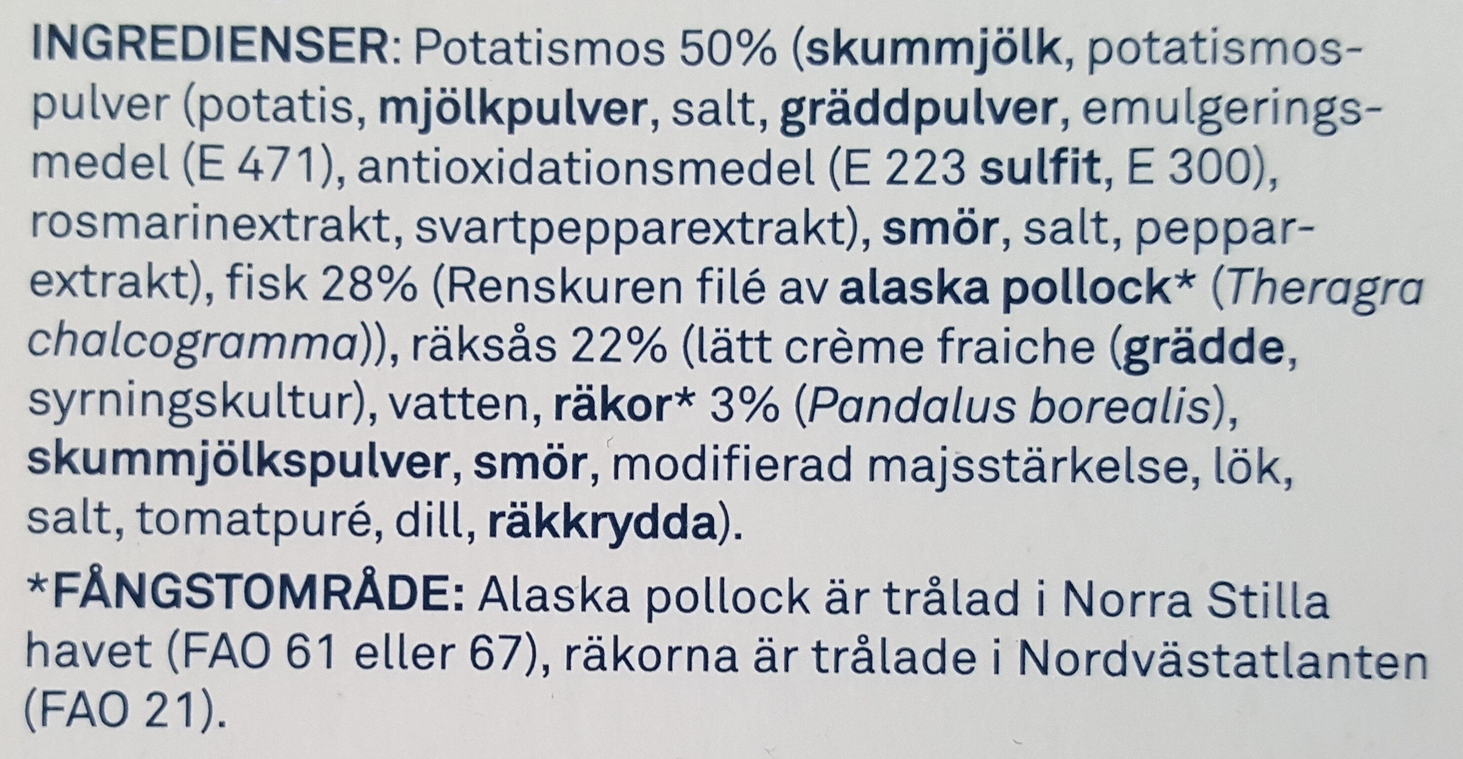 Fiskgratäng med räksås - Ingredients