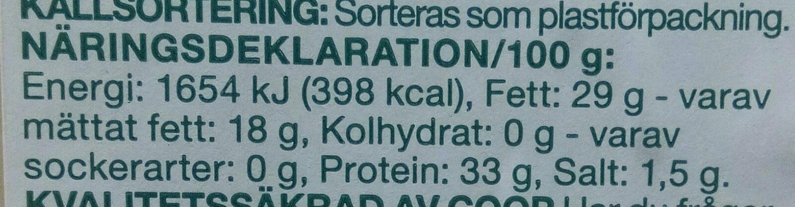 Grana Padano 6 mesi - Informations nutritionnelles - sv