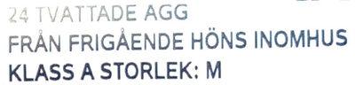 Ägg från svenska höns frigående inomhus - Ingrédients