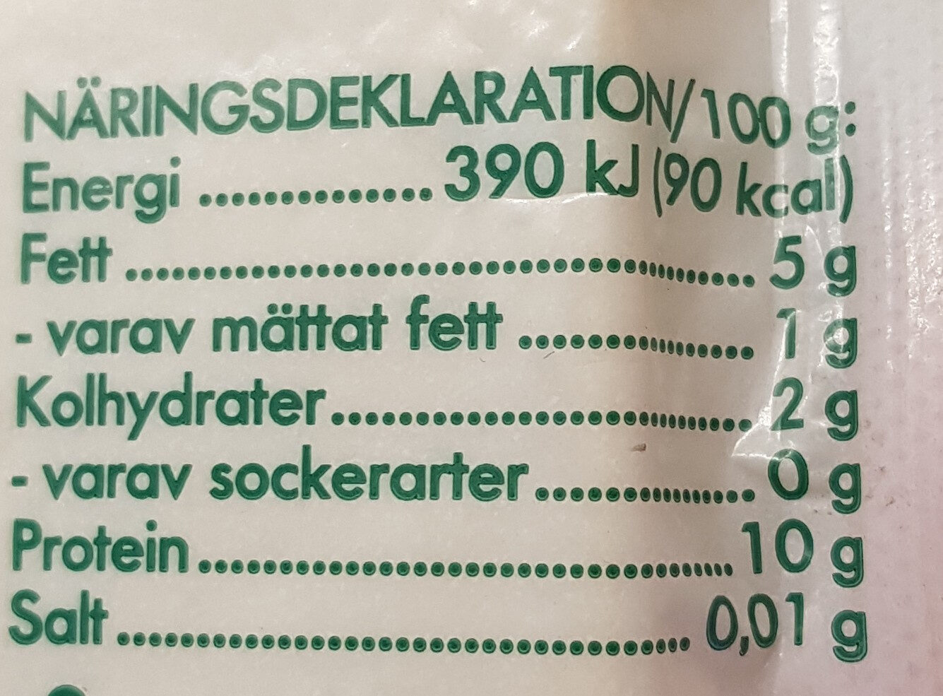 Tofu naturell - Informations nutritionnelles - sv