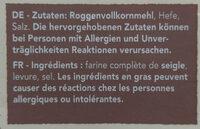 Vollkorn Knäckebrot - Ingredients - en