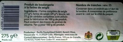 Wasa authentique - Ingrediënten
