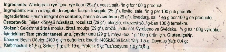 Biscotes integrales original - Ingrediënten