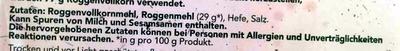 Roggen Dünn - Ingrediënten