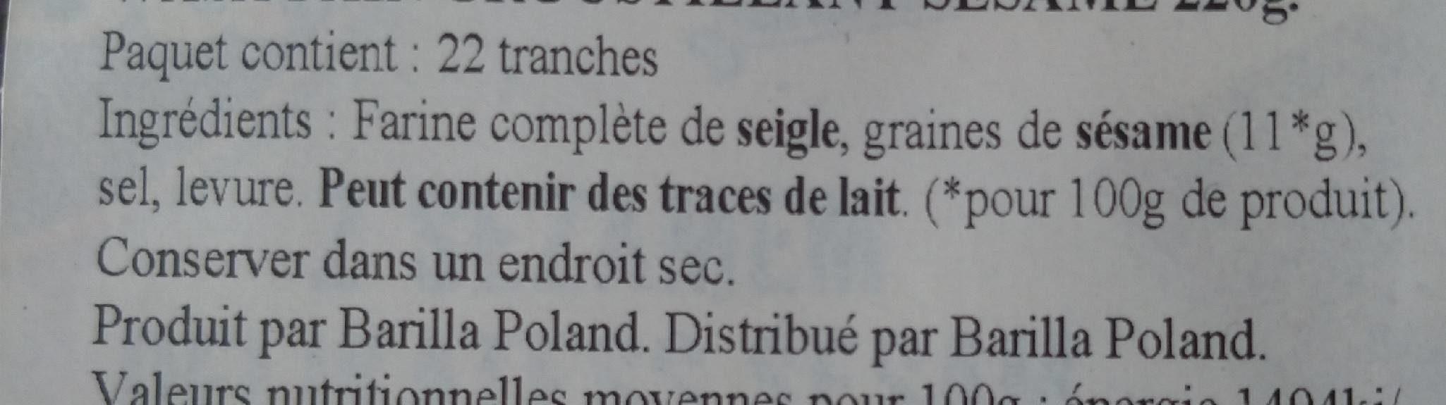 Croustillant sésame - Ingrédients
