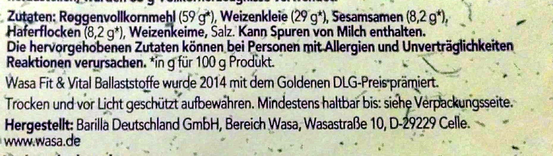 Wasa Hafer & Sesam - Ingredienti - de