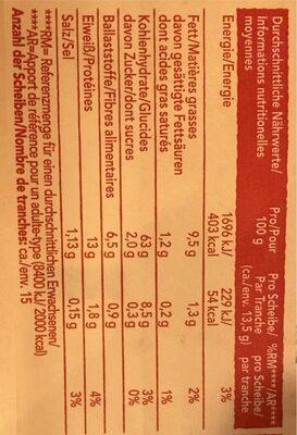 Biscotes integrales con sésamo tostado - Nutrition facts - de
