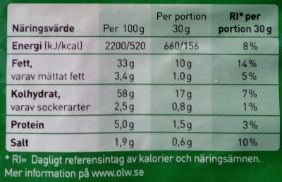OLW Dill & Gräslök Chips - Informations nutritionnelles