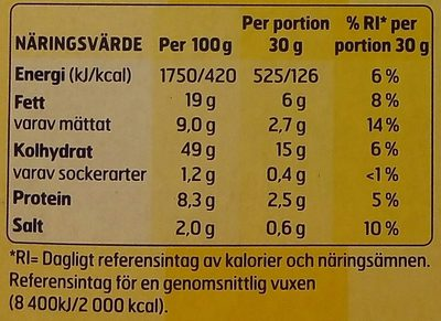 OLW Popcorn Smörsmak - Valori nutrizionali - sv