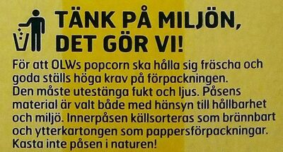 OLW Popcorn Smörsmak - Istruzioni per il riciclaggio e/o informazioni sull'imballaggio - sv