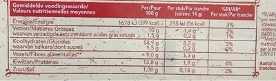 Wasa Sesam - Nutrition facts - en