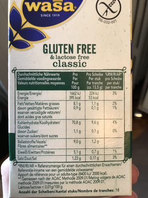 Gluten free and lactose free classic - Informations nutritionnelles - fr