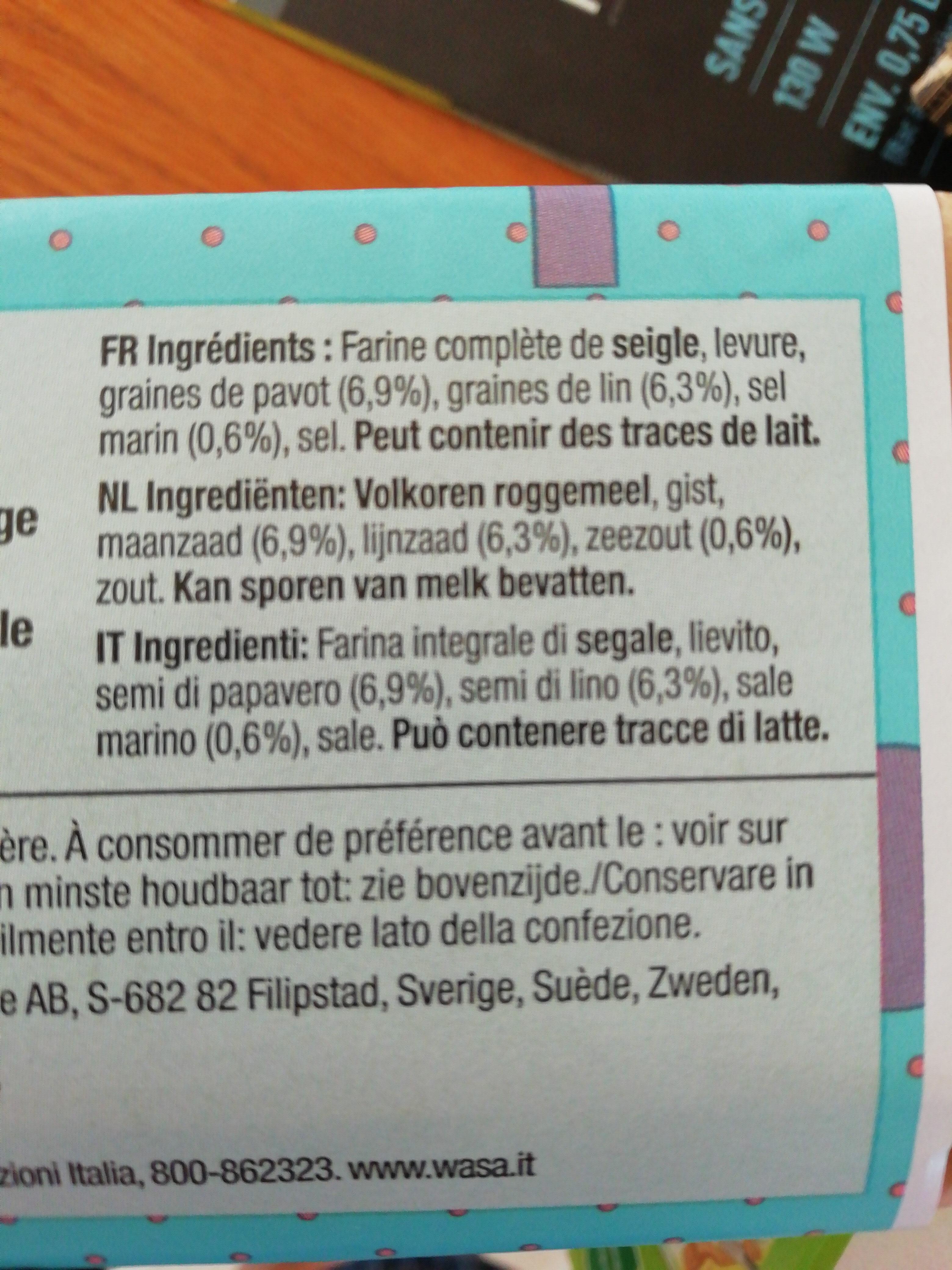 Wasa tartine croustillante 100 ans - Ingredienti - fr