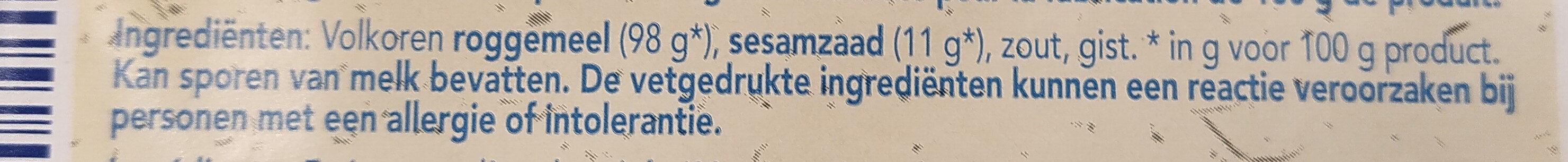 Dun rogge volkoren knäckebröd - Ingrediënten - nl