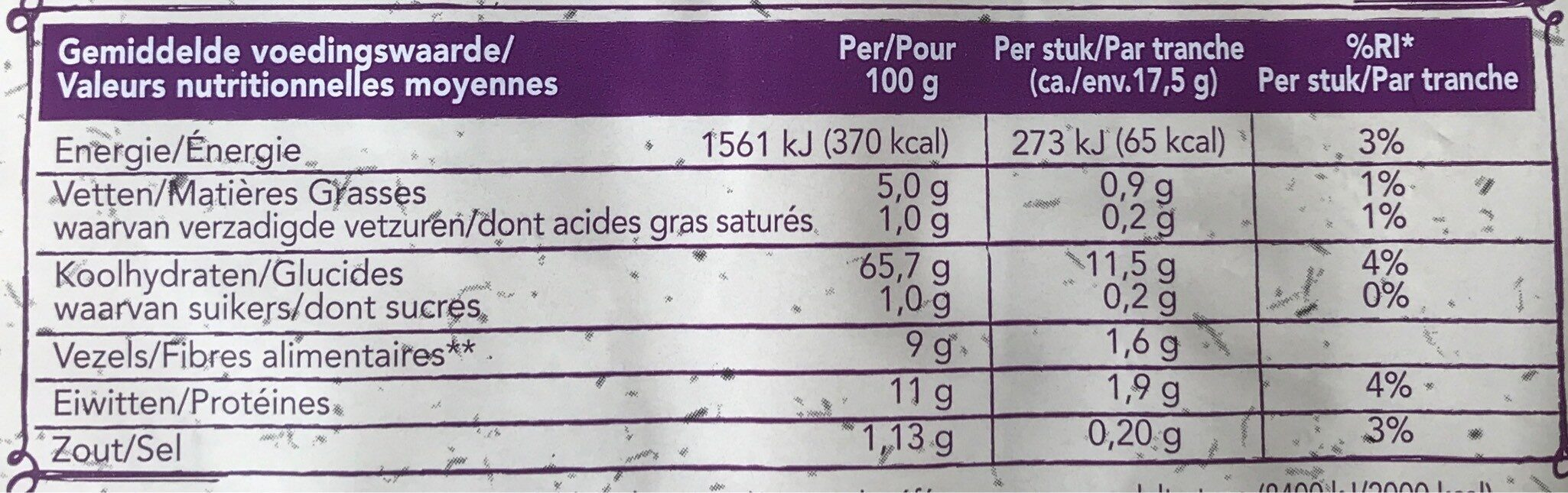 Wasa Haver - Nutrition facts - nl